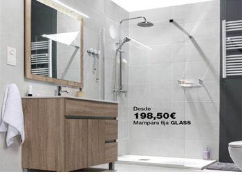 Mampara fija de ducha GLASS, desde tan sólo 198,50 €. Hasta el 31 de octubre de 2018, en DANIEL GARCÍA, SL. | Tu tienda GAMMA