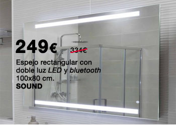 Espejo de lavabo rectangular SOUND, con doble luz LED y bluetooth. 100x80 cm. 249 €. Del 1 al 31 de julio de 2019, en DANIEL GARCÍA, SL. | Tu tienda GAMMA