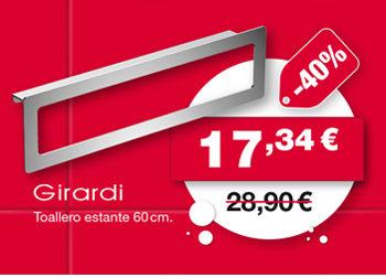 Toallero estante 60 cm., de Girardi. 17,34 €. ANTES: 28,90 €.